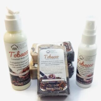 Tobacco Men's handmade bath and body set